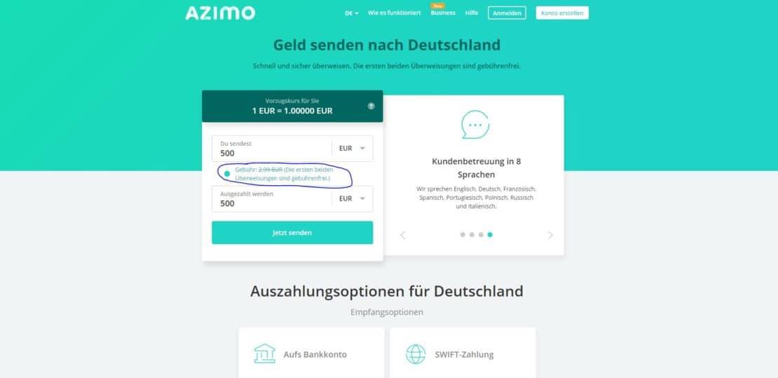Geld überweisen ohne Konto mit Kreditkarte durch Azimo Empfängerland