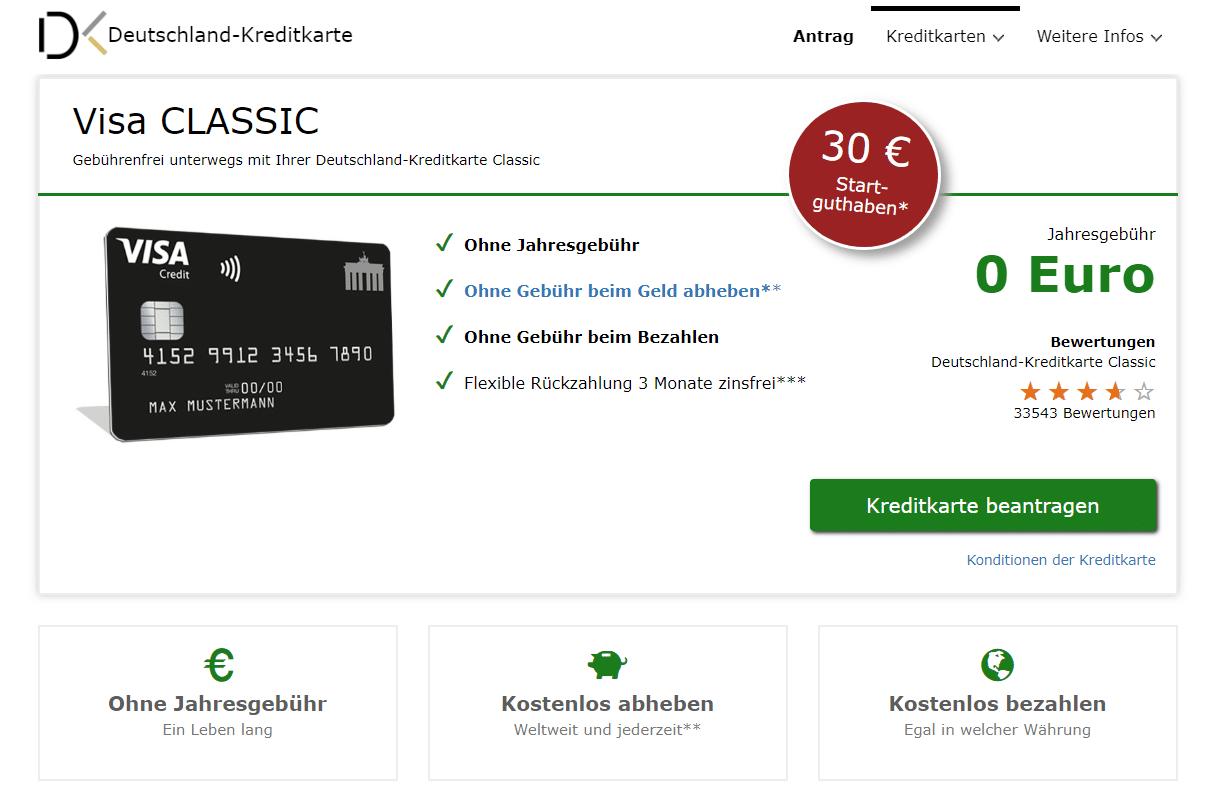 Deutschland-Kreditkarte Visa Classic